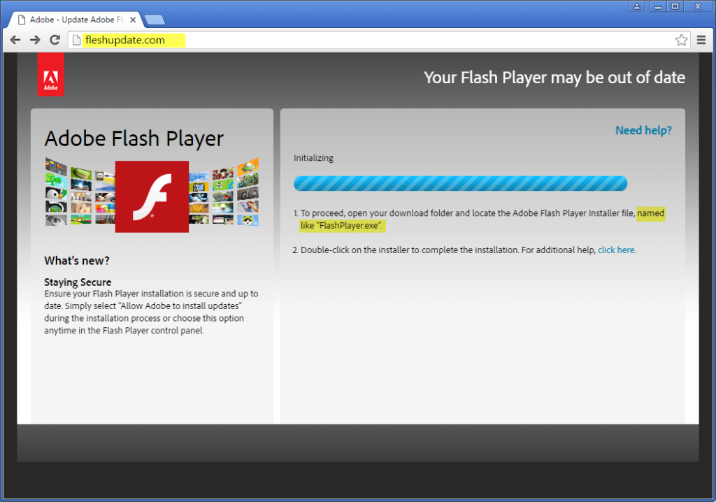 Fake Adobe Flash Player update page with errors highlighted.